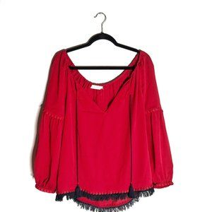 Tory Burch Red Chiffon Blouse with Navy Detail